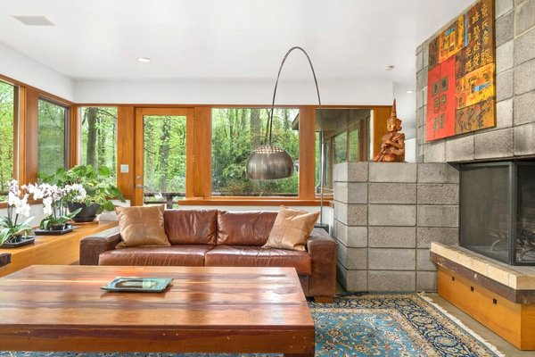The renovation included the careful expansion of the living space, which was originally designed by FLW disciple Ted Bower.