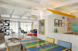 The bright and cheery dining and kitchen area.