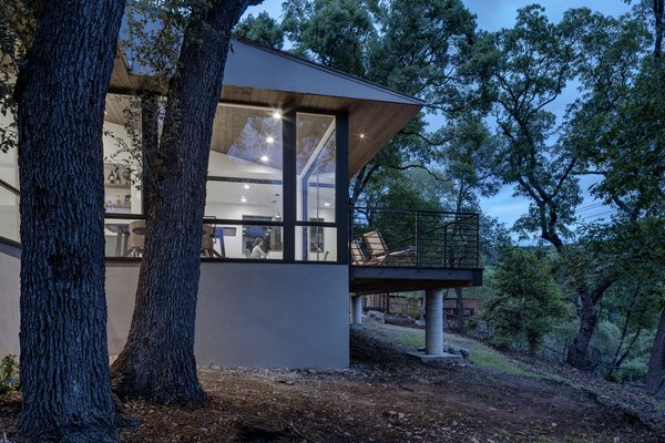 Exterior, House, Metal, Gable, Wood, Glass, Concrete, and Mid-Century  Best Exterior Metal Wood Gable Concrete Photos from An Austin Midcentury Welcomes a Discreet Home Office Addition