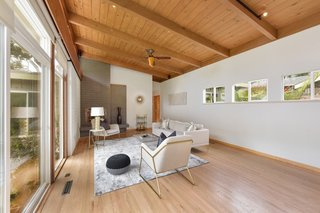 The angled roofline adds to the bright and airy feel of the space.