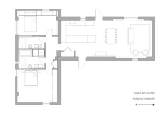 The floor plan of Unit 622.