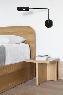 A close-up of the nightstand and another piece from Sangaré's UNITÉ lighting collection.