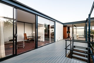 The deck enables easy outdoor living and dining.