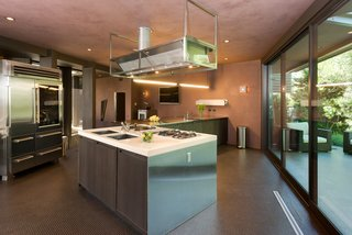 A look at the stainless-steel chef's kitchen and breakfast room.