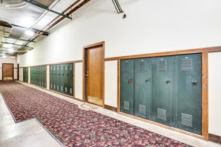 Lockers remain in the hallways of Leland lofts, adding to the character of the turn-of-the-century former schoolhouse.