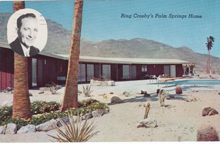 "Bing Crosby was an original investor in Thunderbird Country Club. Instead of choosing a lot on the golf course, he was one of the first to purchase at Thunderbird Ranch Estates (now Thunderbird Heights) on the hill overlooking the greens. The house was a modest ranch home with board-and-batten wood siding and floor-to-ceiling windows looking out over the valley. Rancho Mirage wasn't incorporated until 1973, so the entire area was referred to as ""Palm Springs."""