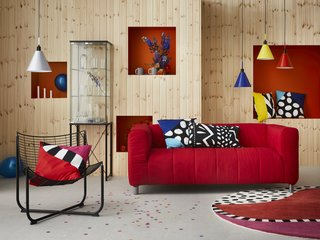 "IKEA's beloved KLIPPAN sofa sums up all the color and fun of the 1970s-80s. ""I just love the covers that are like puffy jackets—they're cool and colorful. It's a tribute to the Memphis group,"" says Gustavsson."