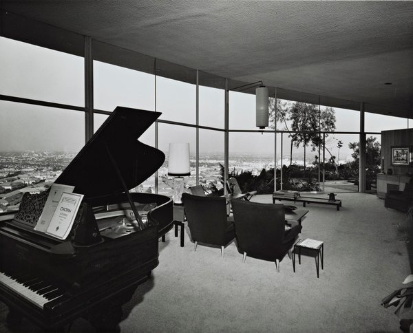 The living room as it originally appeared.  Photo 11 of 13 in A 1958 Midcentury With Stunning L.A. Views Lists For $2.2M