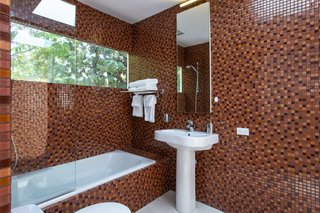The tiled bathroom.