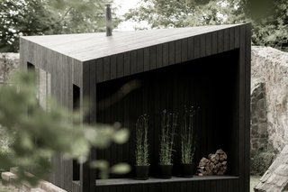 Outside nooks provide storage for firewood.