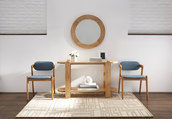 Two Oslo Midcentury Dining Chairs in Stockholm Capri flank the blonde-wood Josef Console Table and Wall Mirror.