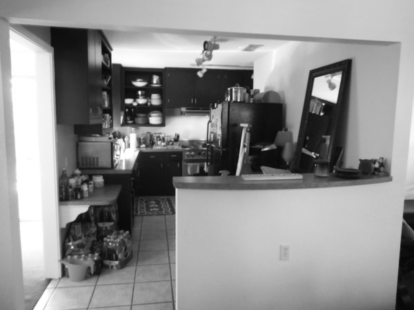 The kitchen had been updated, but it was dark and cramped.