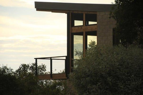 The home in Ojai is constructed from all non-combustible materials: burnished concrete blocks, a steel frame, and heavy timber.