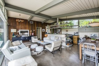 The tongue-and-groove vaulted ceiling defines the living space.