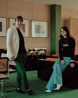 Maria Speake and Bella Freud fit right into the retro interiors they have created.