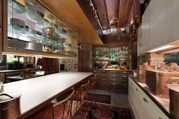The kitchen offers plenty of storage.
