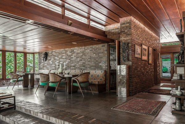 The dining area, which is just off the kitchen, features a built-in banquette.