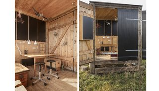 The rustic, unfinished timber interior has room for a good-sized workstation.