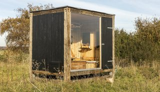 The pavilion measures 11.8' x 8.3' x 11.1' for a total of 96.8 square feet, and it can be transported via a flatbed truck.