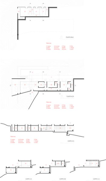 The floor plan for both the upper and the lower level homes.   Photo 13 of 13 in A Concrete Hillside Home With a Green Roof and Killer Views