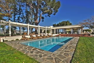 The pool helps the homeowners take advantage of sunny weather.
