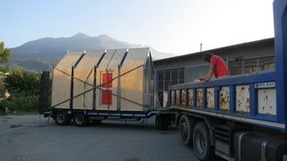 The structure can be transported by flatbed truck.