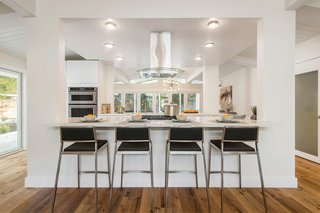 The clean, contemporary interior is perfect for entertaining.