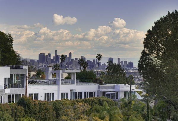 The view of downtown L.A. from the master bedroom.