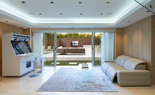 The family room leads out to the pool.