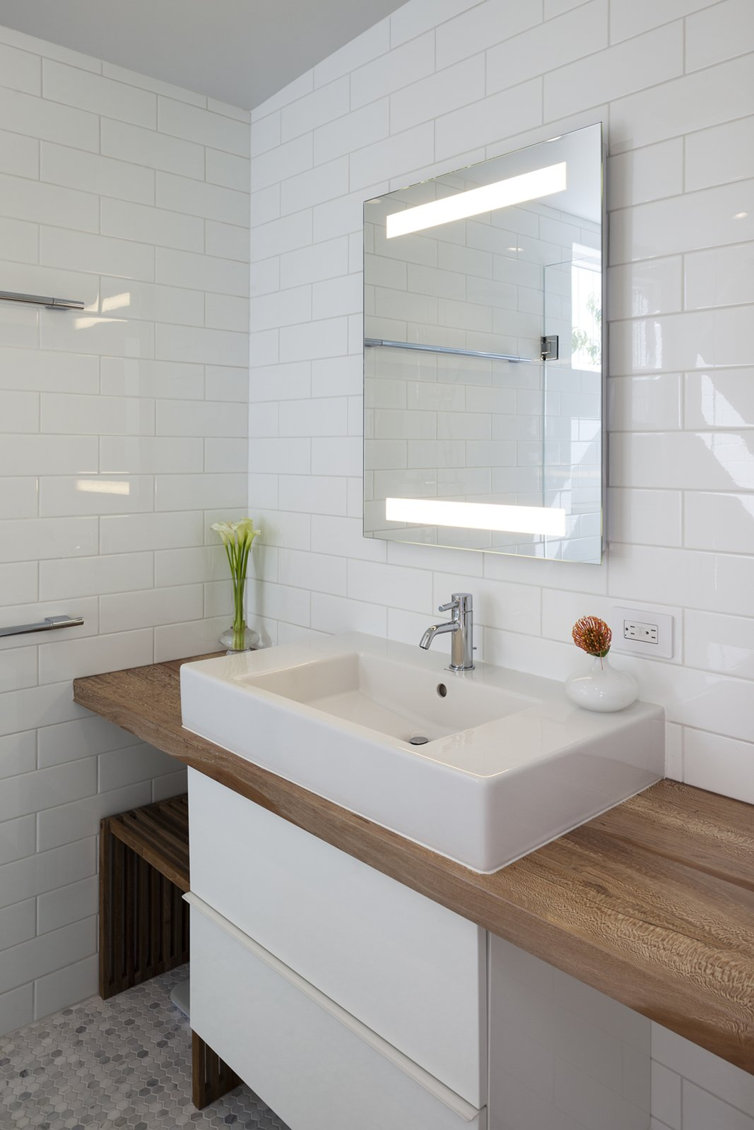 Bath Room, Wood Counter, Accent Lighting, Vessel Sink, Ceramic Tile Floor, Subway Tile Wall, and Ceramic Tile Wall  Shotwell Residence by Todd Davis Architecture