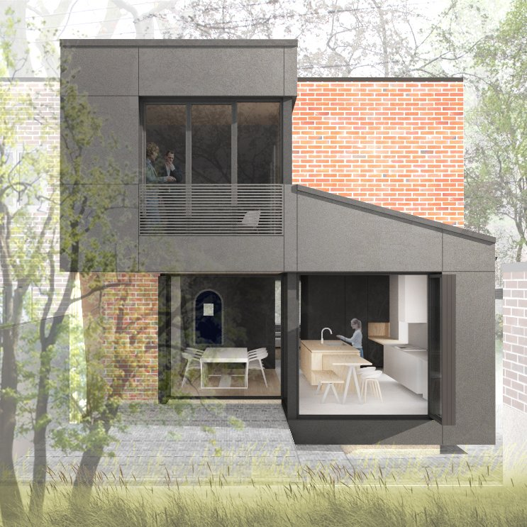 Exterior, House Building Type, Brick Siding Material, Metal Siding Material, and Flat RoofLine  Photos from Black Box II