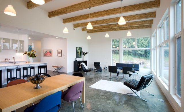 "white ceilings with wood beams from Turkel Design's ""Modern Cottage"" awarded highest honor by NAHB Building Systems Council"