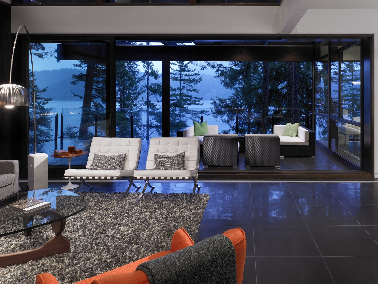 Living Room, Chair, Coffee Tables, and Floor Lighting  Photo 5 of 6 in Turkel Design's Award-Winning Gambier Island House
