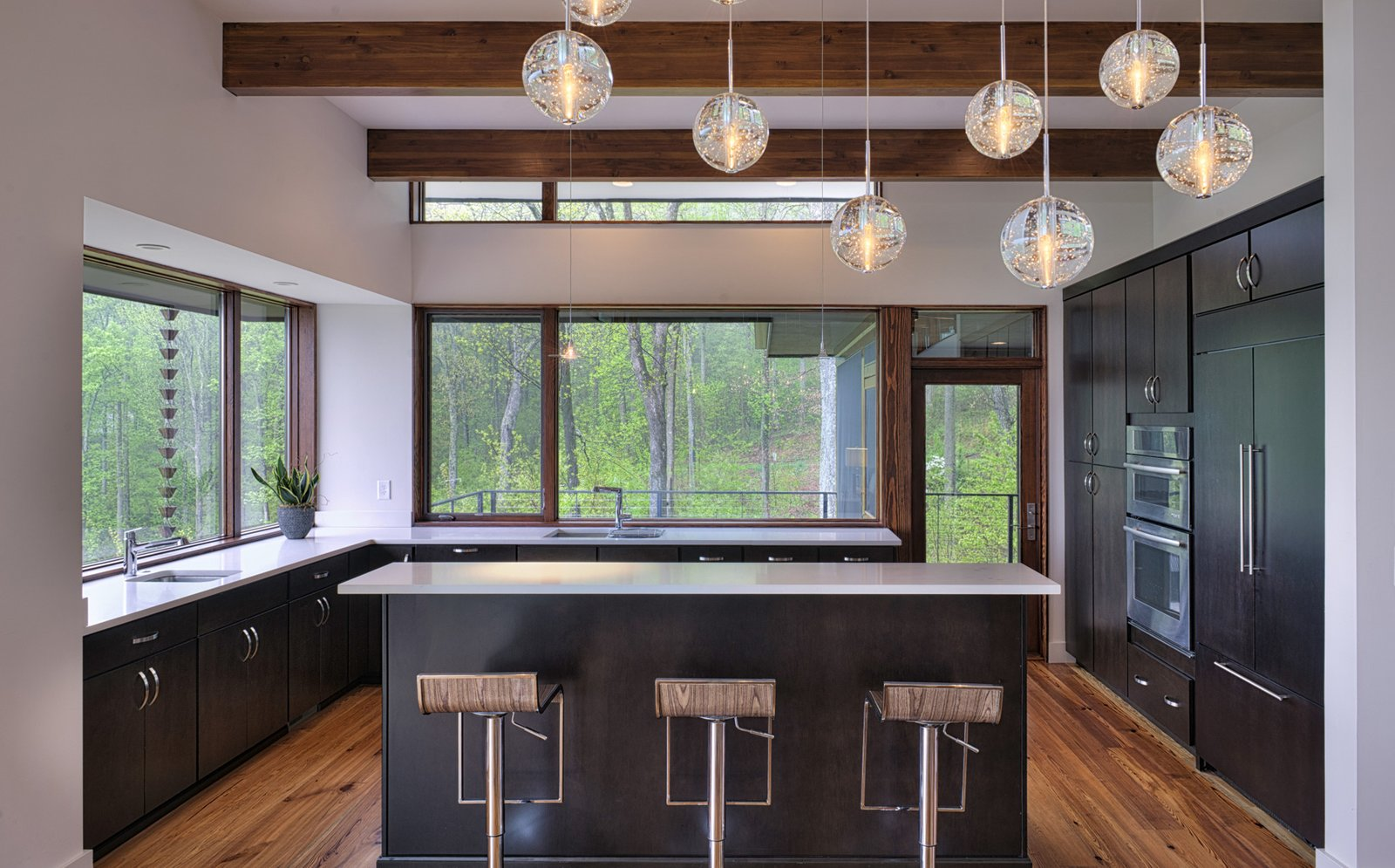 Kitchen, Refrigerator, Pendant Lighting, and Wall Oven  Sweet Repose by Turkel Design