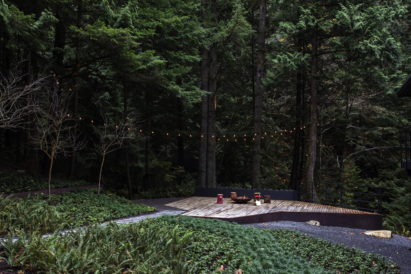 Outdoor, Trees, Hanging Lighting, Large Patio, Porch, Deck, Decking Patio, Porch, Deck, Woodland, Shrubs, Garden, Gardens, Landscape Lighting, Wood Patio, Porch, Deck, and Back Yard  Cypress Falls by considered design inc