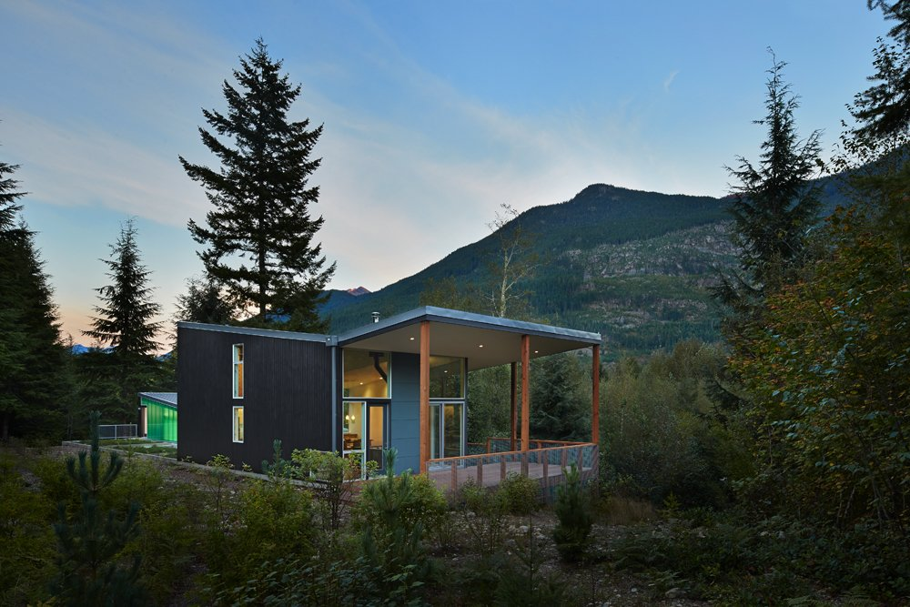 Exterior, Shed RoofLine, Glass Siding Material, House Building Type, Cabin Building Type, Green Siding Material, Metal Roof Material, Butterfly RoofLine, and Wood Siding Material  Bear Run Cabin by David Coleman / Architecture