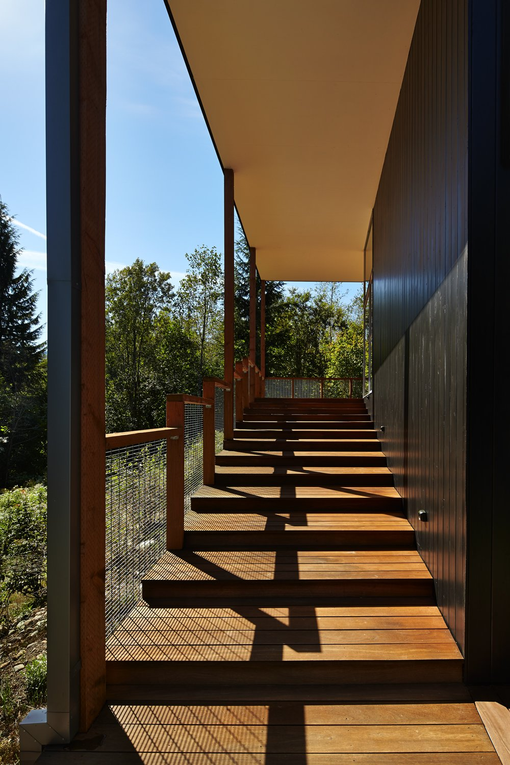 Staircase, Wood Tread, and Metal Railing  Bear Run Cabin by David Coleman / Architecture