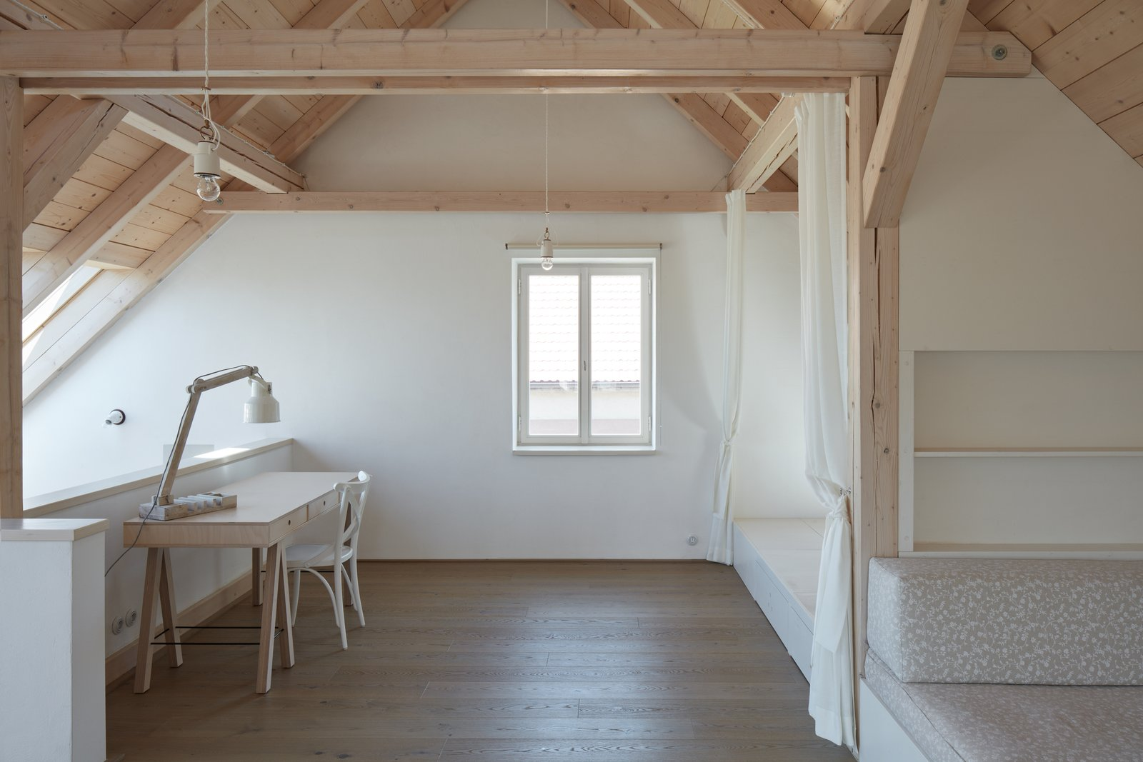 Office, Lamps, Desk, Light Hardwood Floor, and Chair  House by the Forrest by BoysPlayNice Photography & Concept