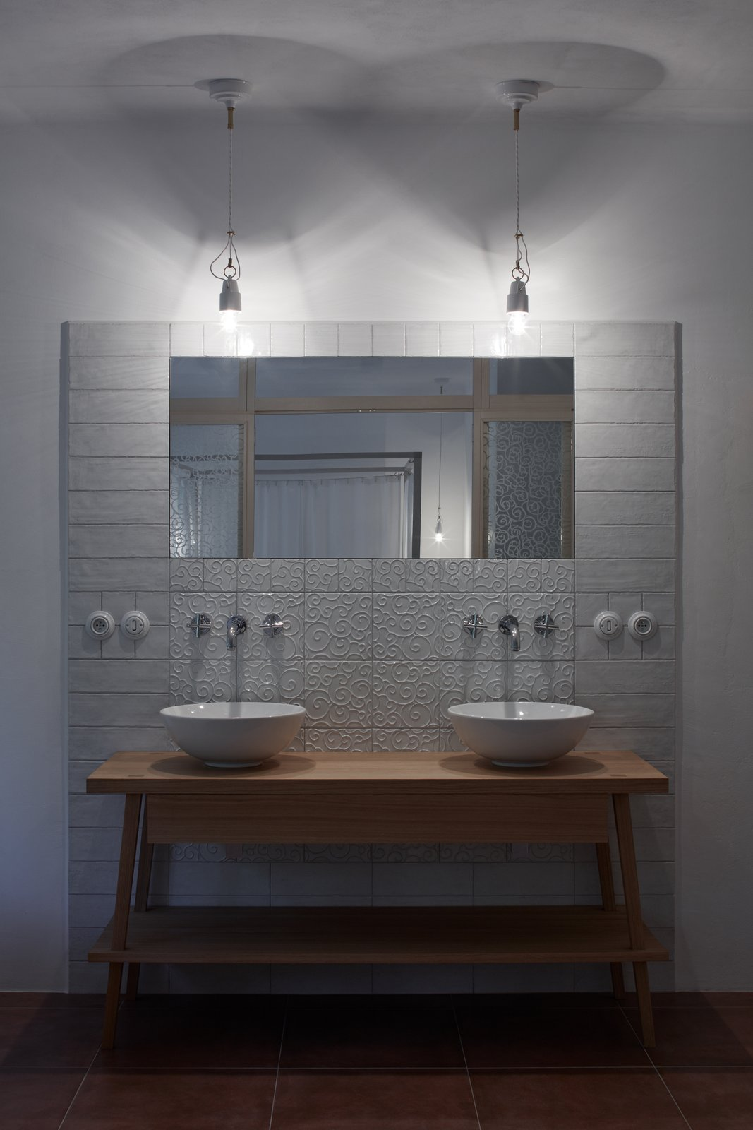 Bath Room, Wood Counter, Pendant Lighting, Vessel Sink, Subway Tile Wall, and Terra-cotta Tile Floor  House by the Forrest by BoysPlayNice Photography & Concept