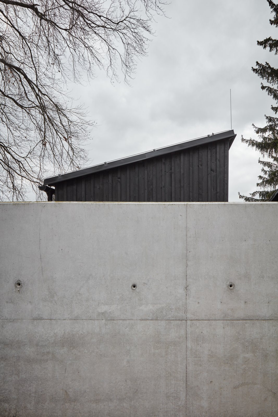 Exterior, Shed RoofLine, Wood Siding Material, Concrete Siding Material, and House Building Type  House Behind the Wall by BoysPlayNice Photography & Concept