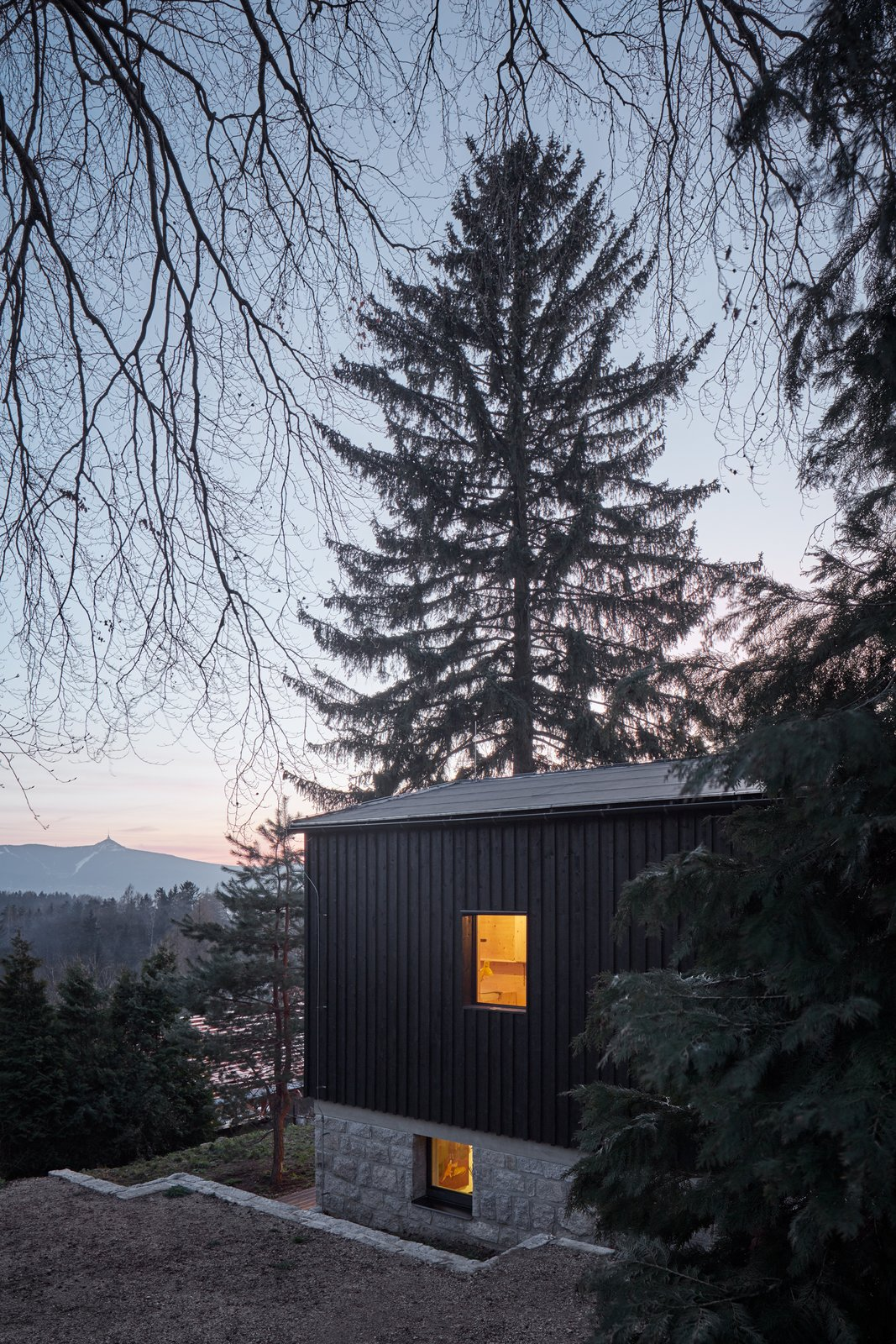 Exterior, Wood Siding Material, Shed RoofLine, Concrete Siding Material, House Building Type, Stone Siding Material, and Glass Siding Material  House Behind the Wall by BoysPlayNice Photography & Concept