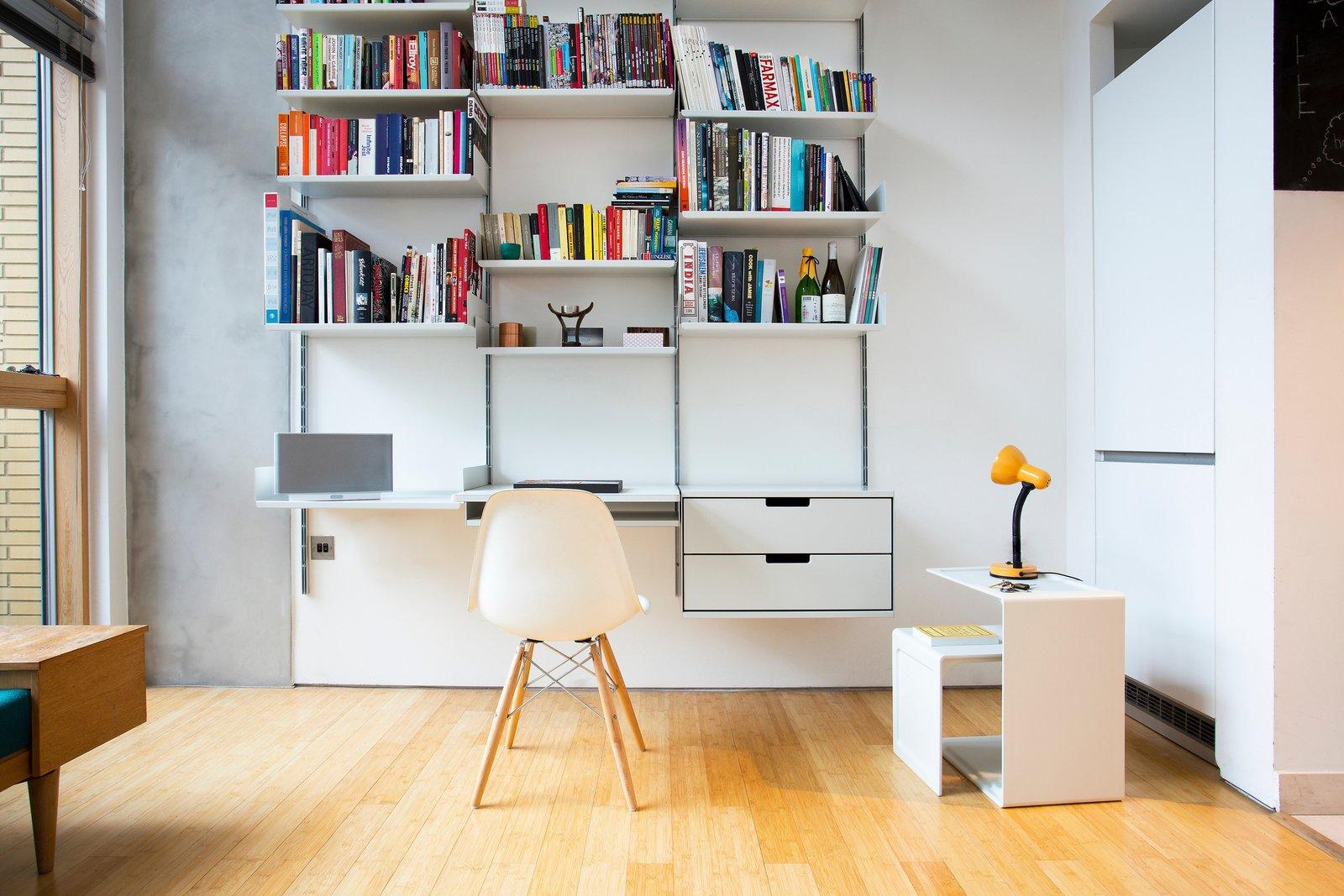 Office, Chair, Shelves, Desk, Light Hardwood Floor, and Lamps  Dieter Rams is the man!