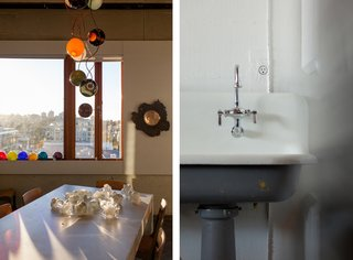 Left: The conference room is strewn with prototypes and works in progress. Right: A detail of Bocci's 22 – an electrical outlet that's designed to mount flush on any surface.
