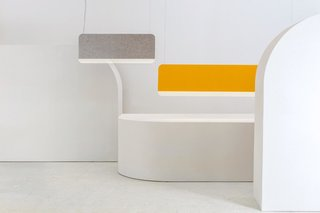 Slab — Design, Lukas Peet<br><br></p><p>Using a 15mm thick panel of opaque acrylic, the Slab has a subtle but transfixing glow. The sound absorbing face is designed to lower the acoustic ambience of a room by using soft materials—grey, green or yellow felt, and cork.