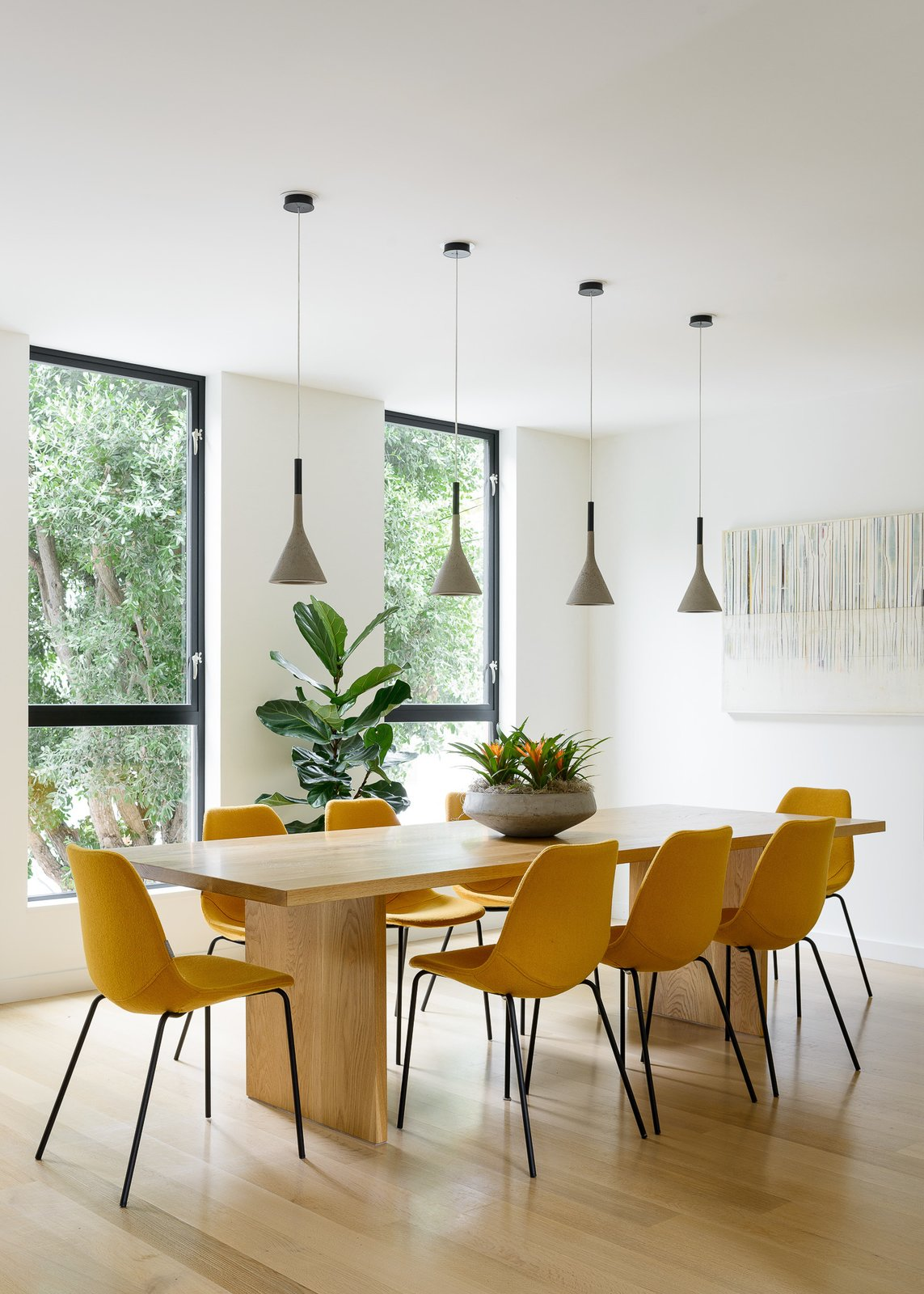 Dining Room, Chair, Table, and Pendant Lighting  Fitty Wun