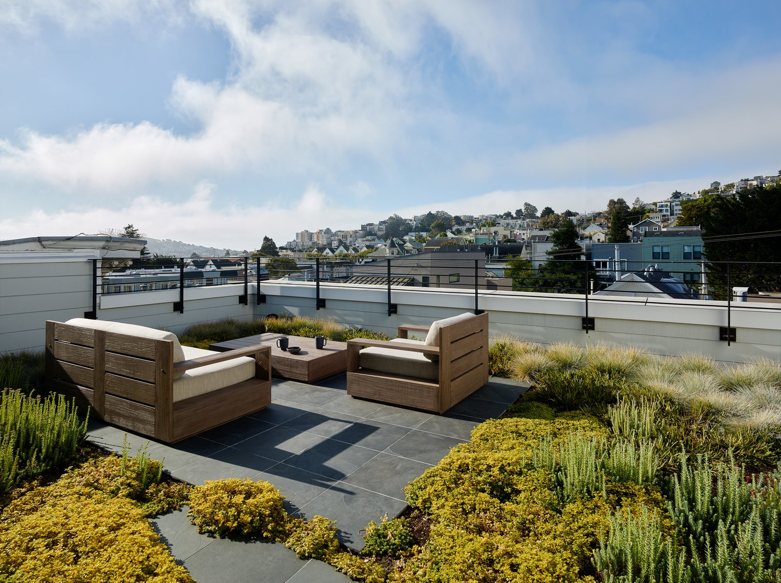 Outdoor, Metal Fences, Wall, Rooftop, Grass, Gardens, Shrubs, and Stone Patio, Porch, Deck  Noe Valley III by Feldman Architecture