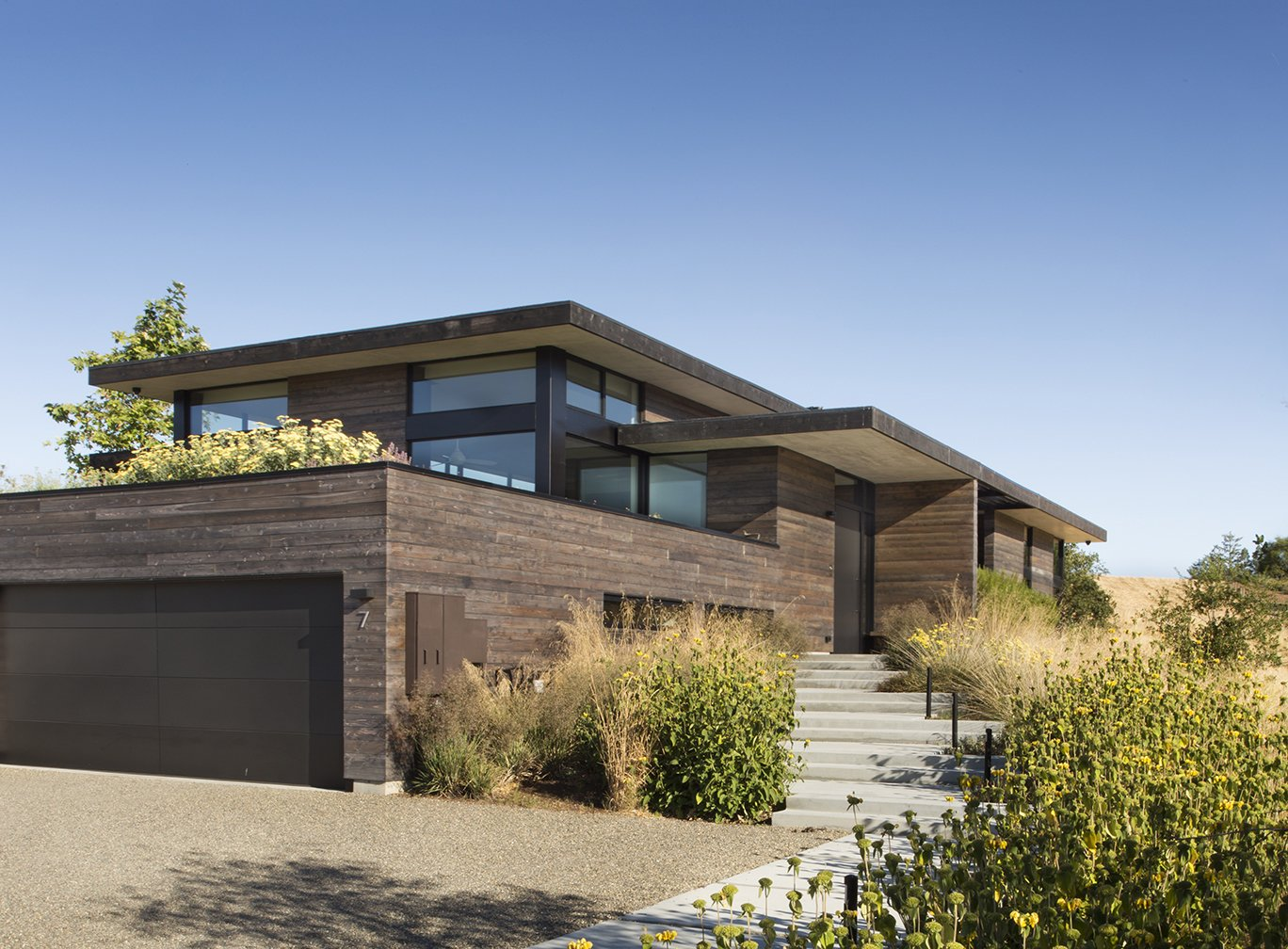 Exterior, Wood Siding Material, House Building Type, and Green Roof Material  The Meadow Home by Feldman Architecture