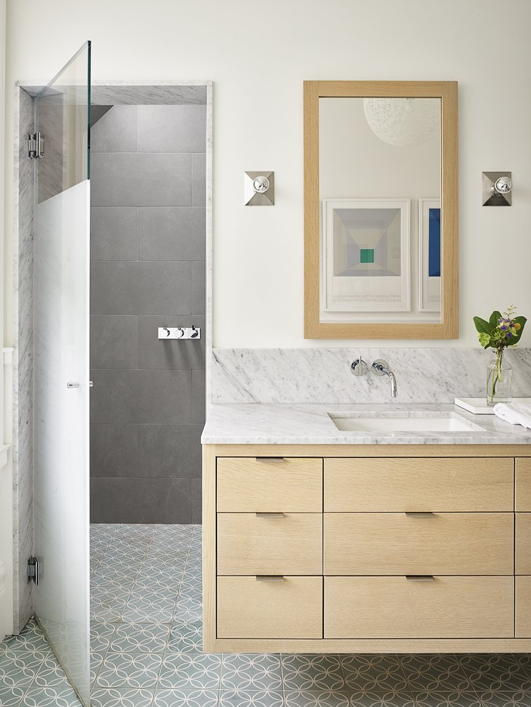 Bath Room, Marble Counter, and Drop In Sink  The Farm by Feldman Architecture