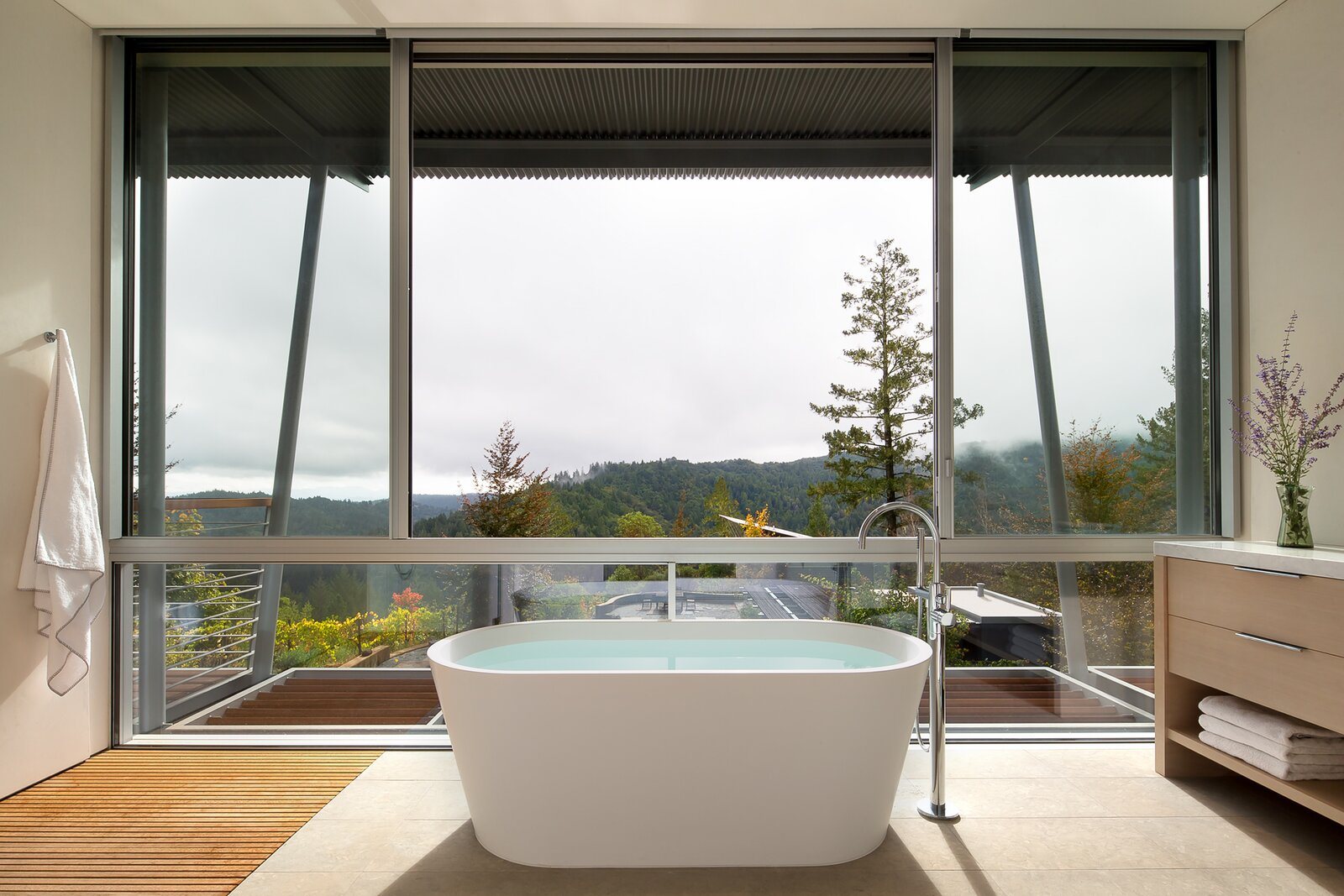 Bath Room and Freestanding Tub  Photo 7 of 11 in A Minimalist House Stands Out in a Wild Landscape from Sunrise