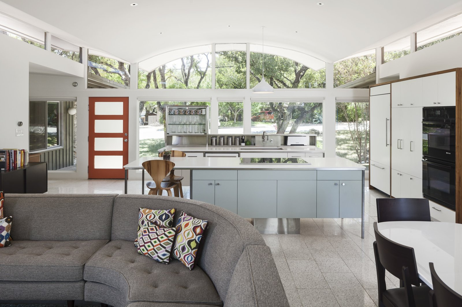 Kitchen, Ceramic Tile Floor, White Cabinet, and Laminate Cabinet  Butter Fly House : A. D. Stenger